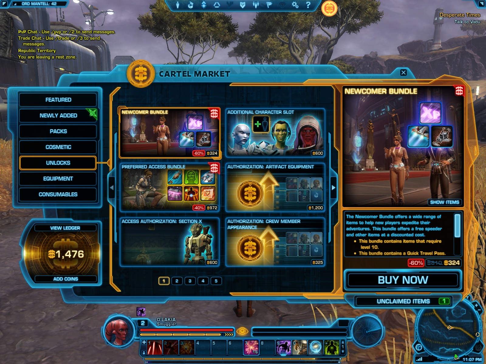 The main page of the Cartel Market