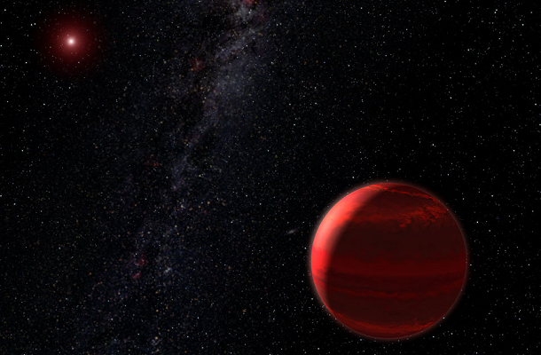 Artist's rendition of red dwarf star and companion