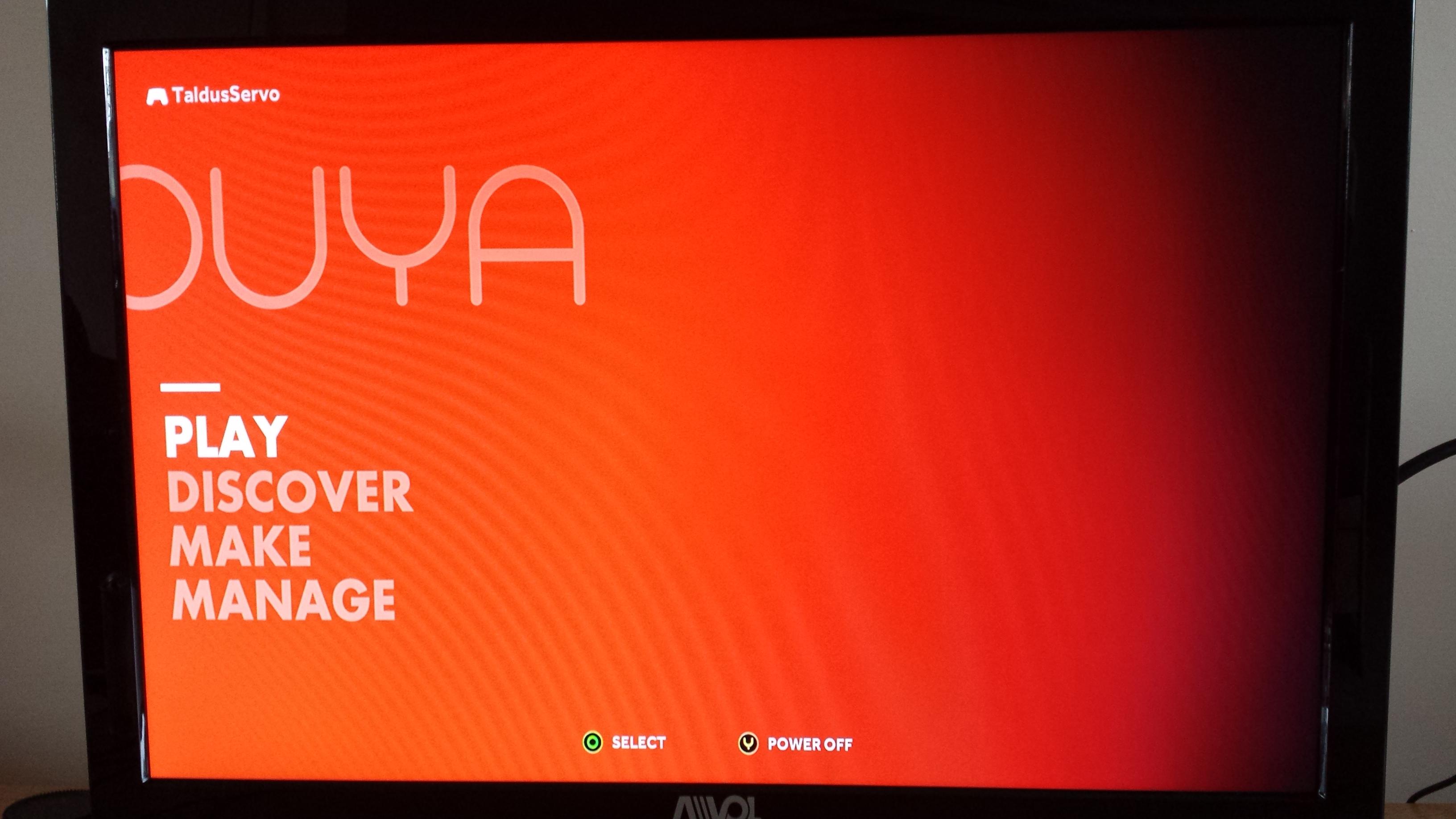 The standard OUYA launch screen.