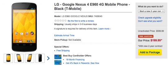 Nexus 4 back in stock