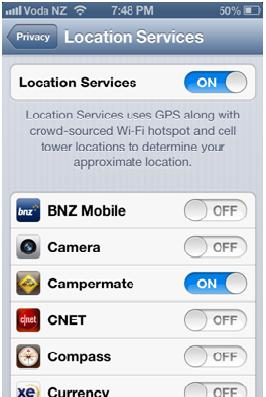 Iphone locations services