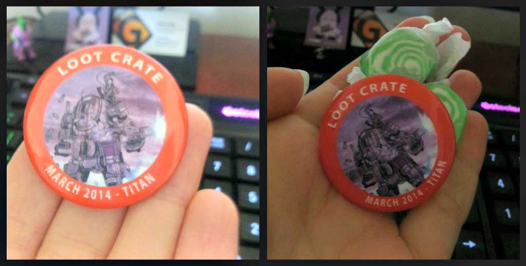 Loot crate pin and candy march 2014