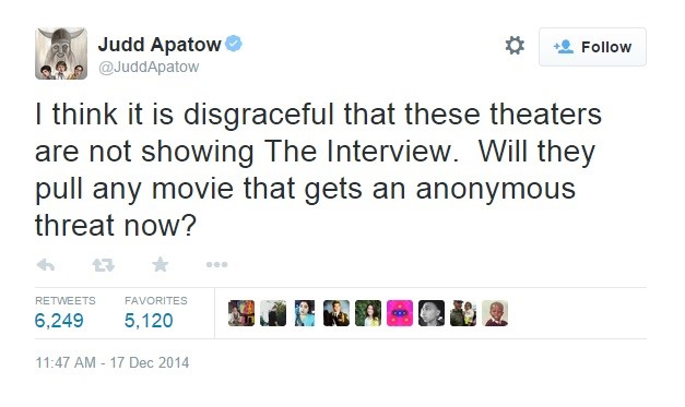 Judd Apatow's response to 'The Interview' being pulled.