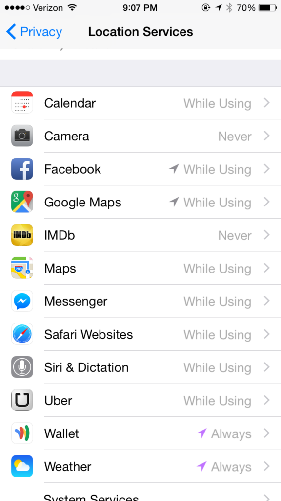 ios privacy settings