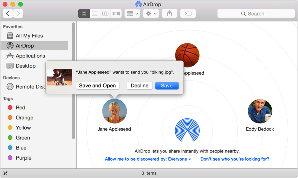 receiving airdrop files