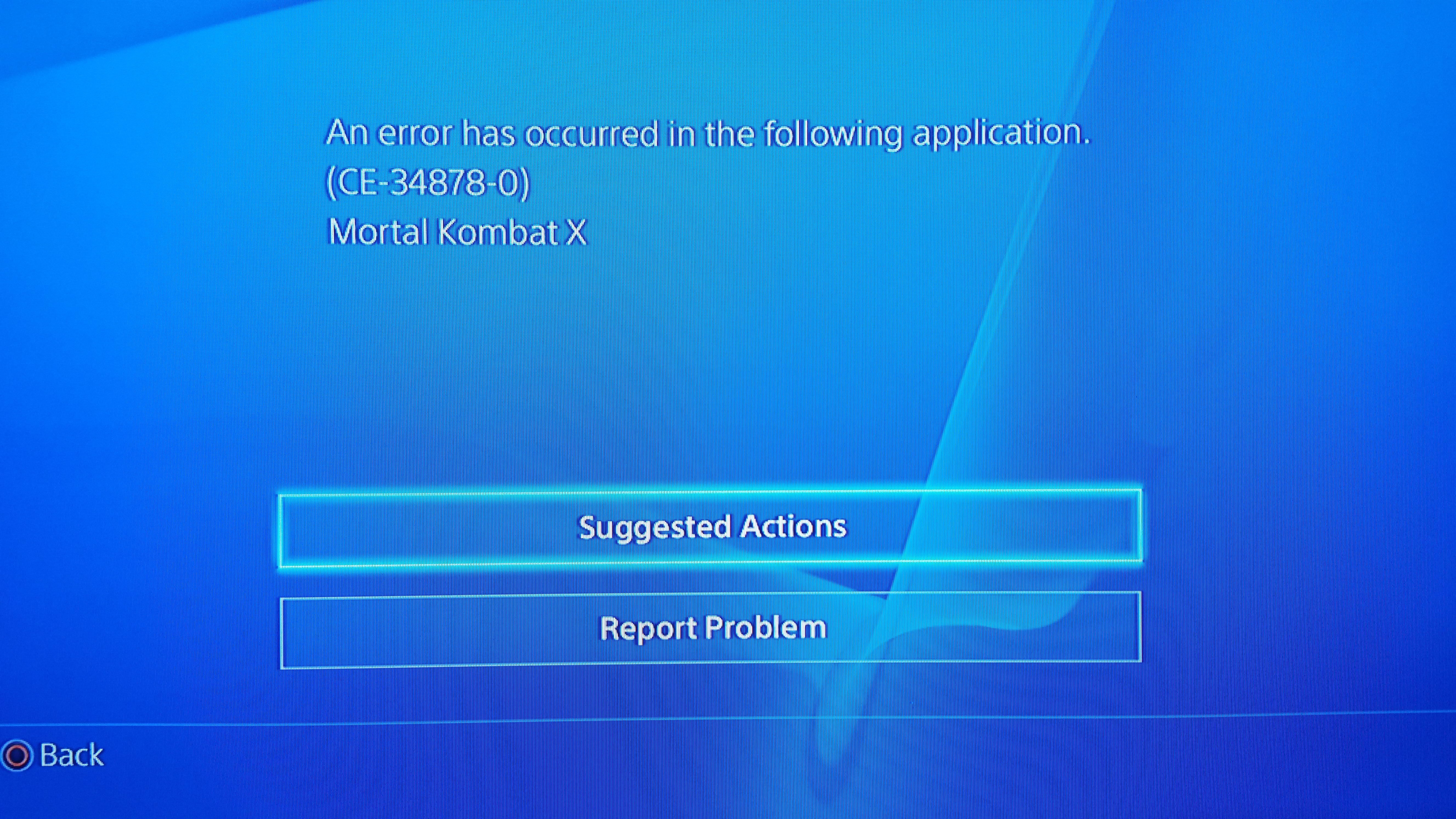 Ps4 error screen when loading mortal kombat x