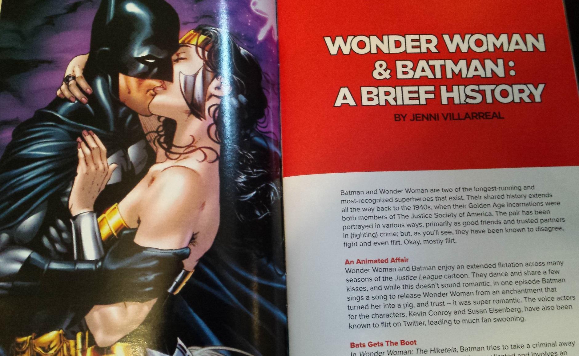 Wonder woman and batman making out