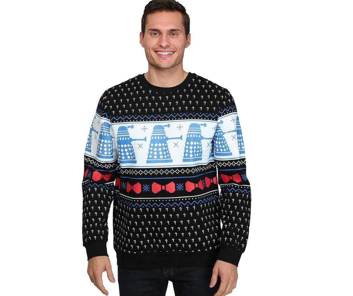 doctor who, fun.com, ugly christmas sweater, dalek sweater