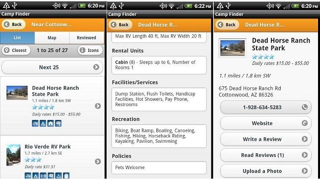 road trip apps, camp-finder