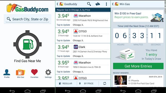 road trip apps, gasbuddy