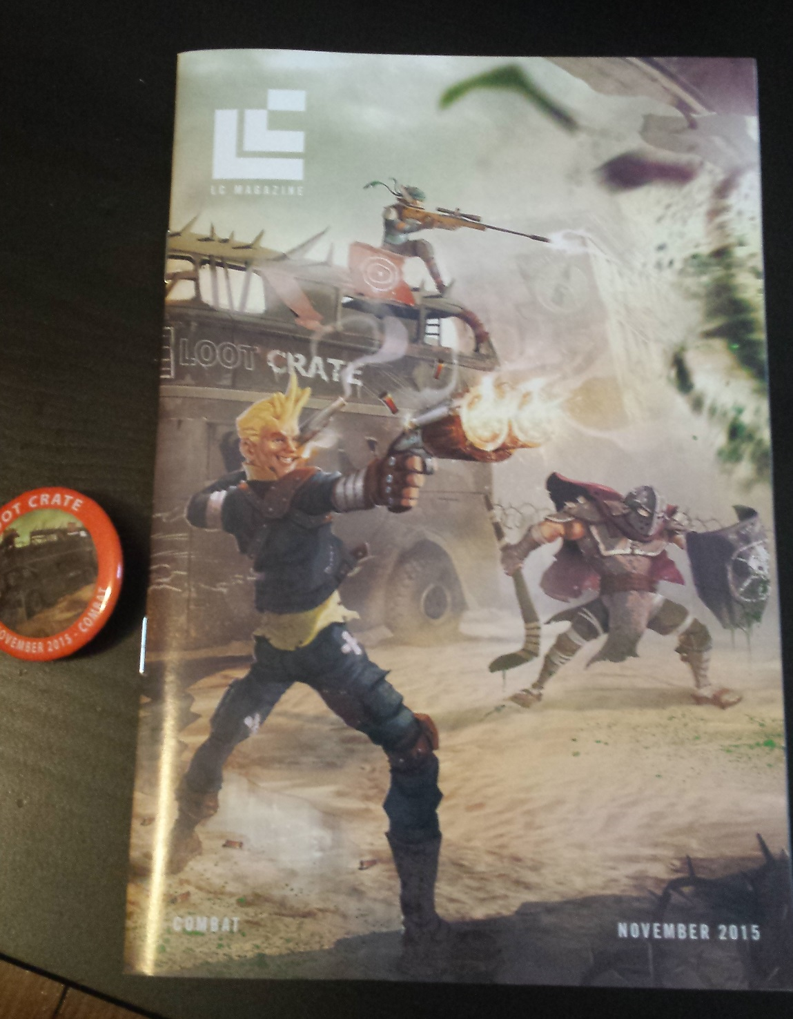 Magazine and pin, loot crate, loot crate review, november loot crate, unboxing