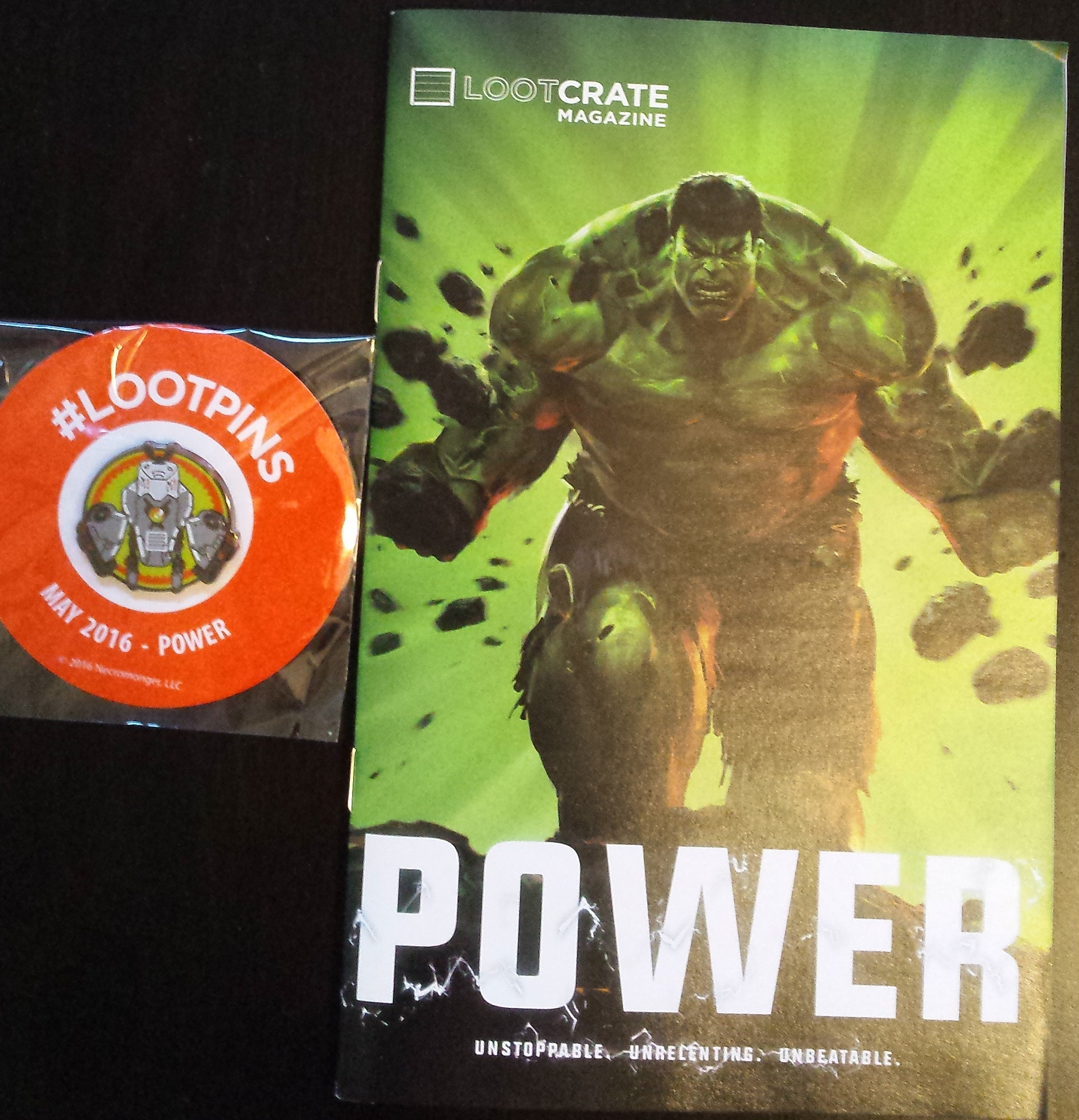 May's loot crate, power, the hulk, loot pins, loot crate magazine