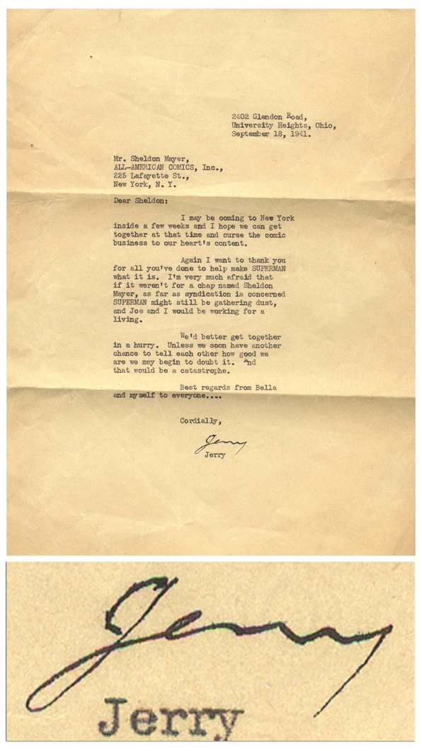 Jerry siegel thank you letter
